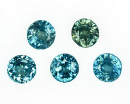 6.67 Cts Natural Sparkling Blue Zircon 6mm Round Cut 5Pcs Cambodia