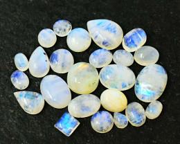 Genuine 74.00 Cts Blue Flash Moonstone Cabochon Lot