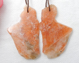 54cts Natural Sunstone Nugget Fashion Earrings Beads, stone for earrings F1