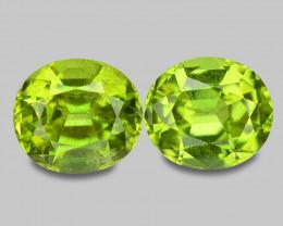 4.02 Cts 2pcs Amazing Rare Fancy Green Natural Peridot Gemstone