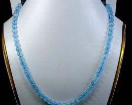 145.60 CT Natural ~ Unheated Blue Aquamarine Carved Beads Necklaces Special