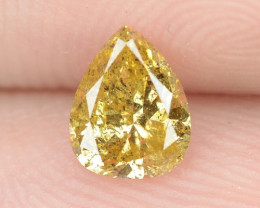 0.37 Cts Untreated Fancy Intense Yellow  Color Natural Loose Diamond