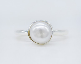 PEARL RING 925 STERLING SILVER NATURAL GEMSTONE JR552