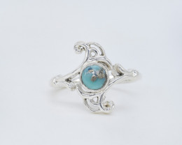 TURQUOISE RING 925 STERLING SILVER NATURAL GEMSTONE JR550
