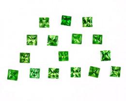 3.15 Cts Natural Mint Green Tsavorite Garnet 3mm Princess Cut Kenya