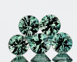 3.50 mm Round Machine Cut 5 pieces Unheated Green Sapphire [VVS]
