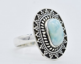 LARIMAR RING 925 STERLING SILVER NATURAL GEMSTONE FREE SHIPPING JR247