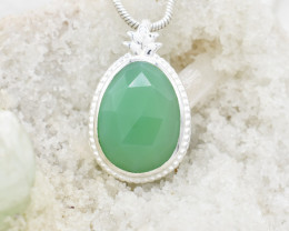 GREEN ONYX PENDANT 925 STERLING SILVER NATURAL GEMSTONE FREE SHIPPING JP154