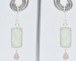 PREHNITE / ROSE QUARTZ EARRINGS 925 STERLING SILVER NATURAL GEMSTONE  JE155