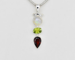 RAINBOW MOONSTONE /PERIOD/ GARNET PENDANT 925 STERLING SILVER NATURAL GEMST