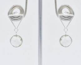 GREEN AMETHYST EARRINGS 925 STERLING SILVER NATURAL GEMSTONE FREE SHIPPING