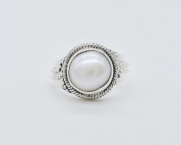 PEARL RING 925 STERLING SILVER NATURAL GEMSTONE FREE SHIPPING   JR74