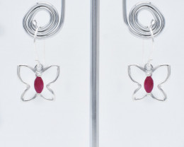 RUBY EARRINGS 925 STERLING SILVER NATURAL GEMSTONE FREE SHIPPING   JE142