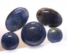 3.80 cts   Natural Blue Sapphire Oval Cabs parcel ( 5 pcs ) ADG-1697