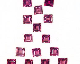 4.92 Cts Natural Sweet Pink Tourmaline 4mm Square 15 Pcs Mozambique