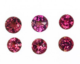 2.88 Cts Natural Sweet Pink Tourmaline 5.4-4.8mm Round 6 Pcs Mozambique