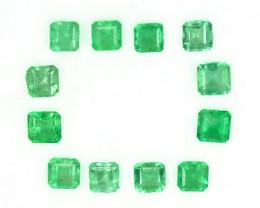 2.57 Cts Natural Vivid Green Colombian Emerald 12 Pcs Octagon Parcel