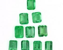 4.12 Cts Natural Vivid Green Colombian Emerald 10 Pcs Octagon Parcel