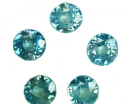7.62 Cts Natural Sparkling Blue Zircon 6mm Round 5Pcs Parcel Cambodia