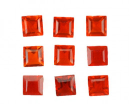 1.60 Cts Natural Reddish Orange Fire Opal 3.5mm Square 9Pcs Mexican