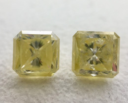 IGL Certificate Radiant 2.09 Carat  Natural Fancy Yellow Loose Diamond Pair