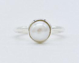 PEARL RING 925 STERLING SILVER NATURAL GEMSTONE FREE SHIPPING JR354