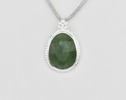 SERAPHINITE PENDANT 925 STERLING SILVER NATURAL GEMSTONE FREE SHIPPING JP13