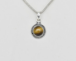 TIGER EYE PENDANT 925 STERLING SILVER NATURAL GEMSTONE FREE SHIPPING JP160