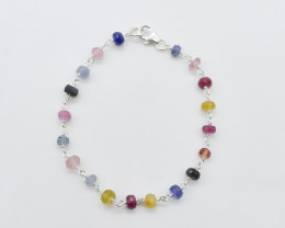 RUBY/BLUE/ YELLOW SAPPHIRE/ BRACELET NATURAL GEM 925 STERLING SILVER FREE S
