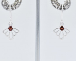GARNET EARRINGS 925 STERLING SILVER NATURAL GEMSTONE FREE SHIPPING JE232