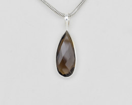 SMOKY QUARTZ PENDANT 925 STERLING SILVER NATURAL GEMSTONE FREE SHIPPING JP8