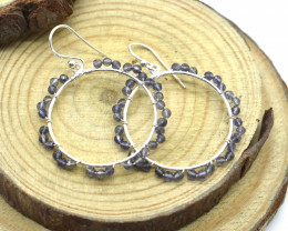 IOLITE EARRINGS 925 STERLING SILVER NATURAL GEMSTONE FREE SHIPPING JE102