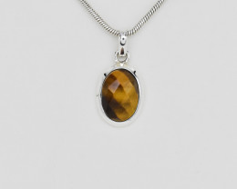 TIGER EYE PENDANT 925 STERLING SILVER NATURAL GEMSTONE FREE SHIPPING JP110