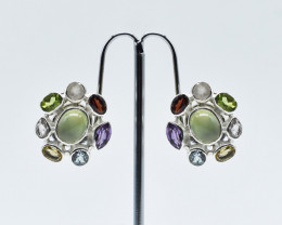 MULTI EARRINGS 925 STERLING SILVER NATURAL GEMSTONE FREE SHIPPING JE96