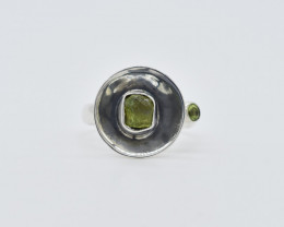 PERIDOT RING 925 STERLING SILVER NATURAL GEMSTONE FREE SHIPPING JR81