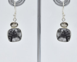 RUTILATED QUARTZ EARRINGS 925 STERLING SILVER NATURAL GEMSTONE FREE SHIPPIN