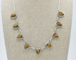 TIGER EYE  NECKLACE NATURAL GEM 925 STERLING SILVER FREE SHIPPING JN92