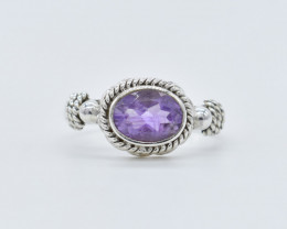 AMETHYST RING 925 STERLING SILVER NATURAL GEMSTONE FREE SHIPPING JR367