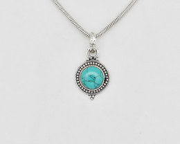 TURQUOISE PENDANT 925 STERLING SILVER NATURAL GEMSTONE FREE SHIPPING JP153