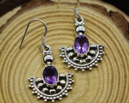 AMETHYST EARRINGS 925 STERLING SILVER NATURAL GEMSTONE FREE SHIPPING JE70