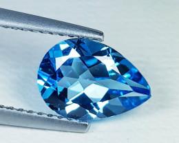 2.20 ct Top Quality Gem Stunning Pear Cut Swiss Blue Topaz