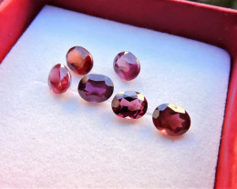 3.00ct TANZANIAN UMBA GARNETS OVAL FACETED GEMSTONES 6pcs