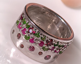 Chrome Diopside Rhodolite, Ruby Gold and Silver Ring Size 7