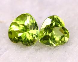 Peridot 1.03Ct 2Pcs Natural Pakistan Himalayan Green Peridot E1409