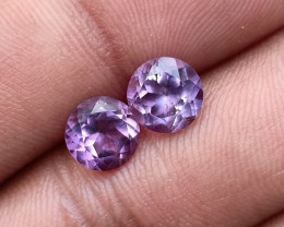 AMETHYST PAIR TOP QUALITY GENUINE GEMSTONES 7mm Round VA5787