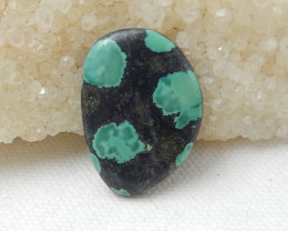 23.5cts  Turquoise,Obsidian Intarsia Cabochon, Healing Stone F281