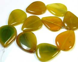 STRAND 10 YELLOW BANDED AGATE BEADS   648 CARATS   AG 1246