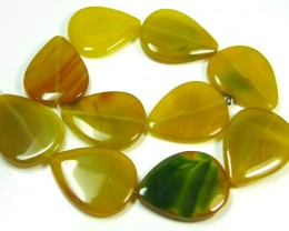 STRAND 10 YELLOW BANDED AGATE BEADS   661CARATS   AG 1250