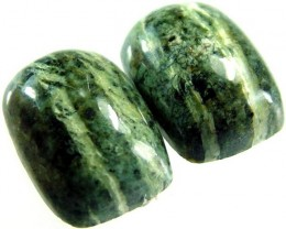 GREEN  ZEBRA JASPER PAIR-POLISHED 11.3 CTS [MX3969 ]