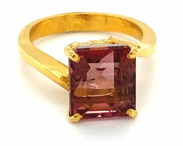 Rubellite 6.89ct Solid 22K Yellow Gold Solitaire Ring